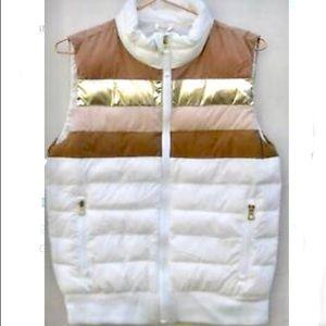 Gap puffer vest - white w/ metallic bronze stripes